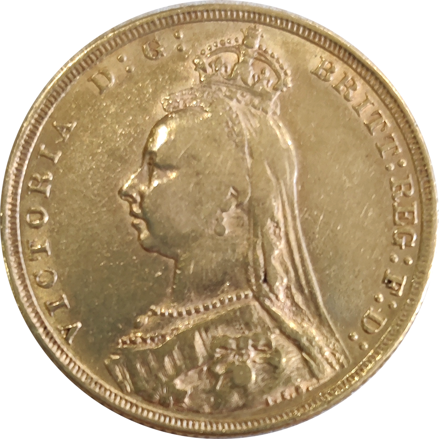 Pre-Owned 1889 London Mint Victoria Jubilee Head Full Sovereign Gold Coin