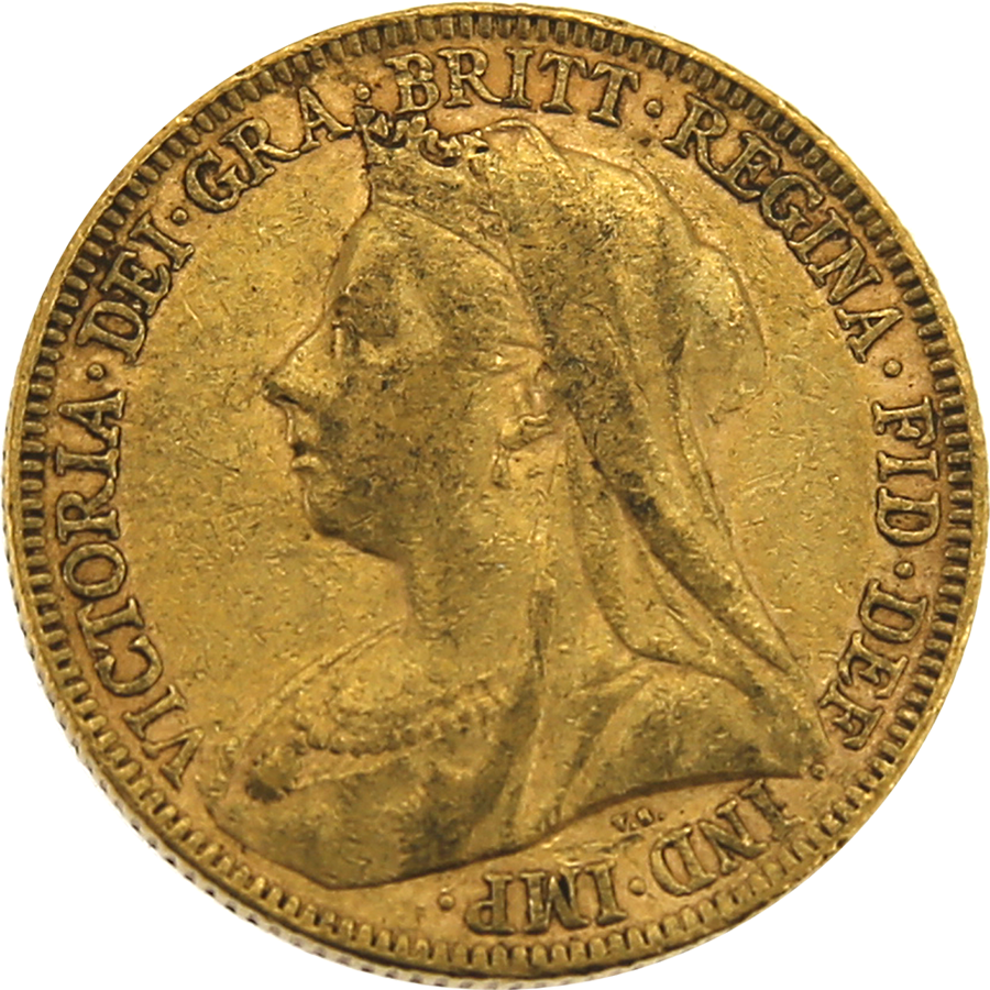 Pre-Owned 1895 UK Victoria 'Veiled Head' Full Sovereign Gold Coin