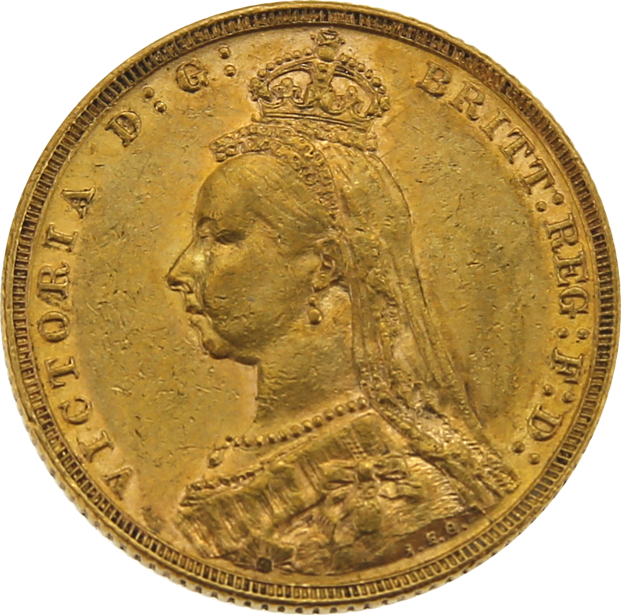 Pre-Owned 1892 Melbourne Mint Victoria Jubilee Head Full Sovereign Gold Coin