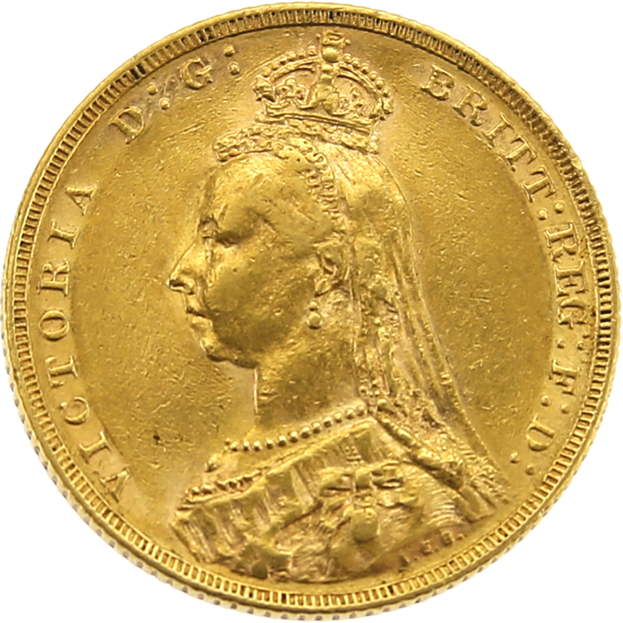 Pre-Owned 1889 Melbourne Mint Victoria Jubilee Head Full Sovereign Gold Coin
