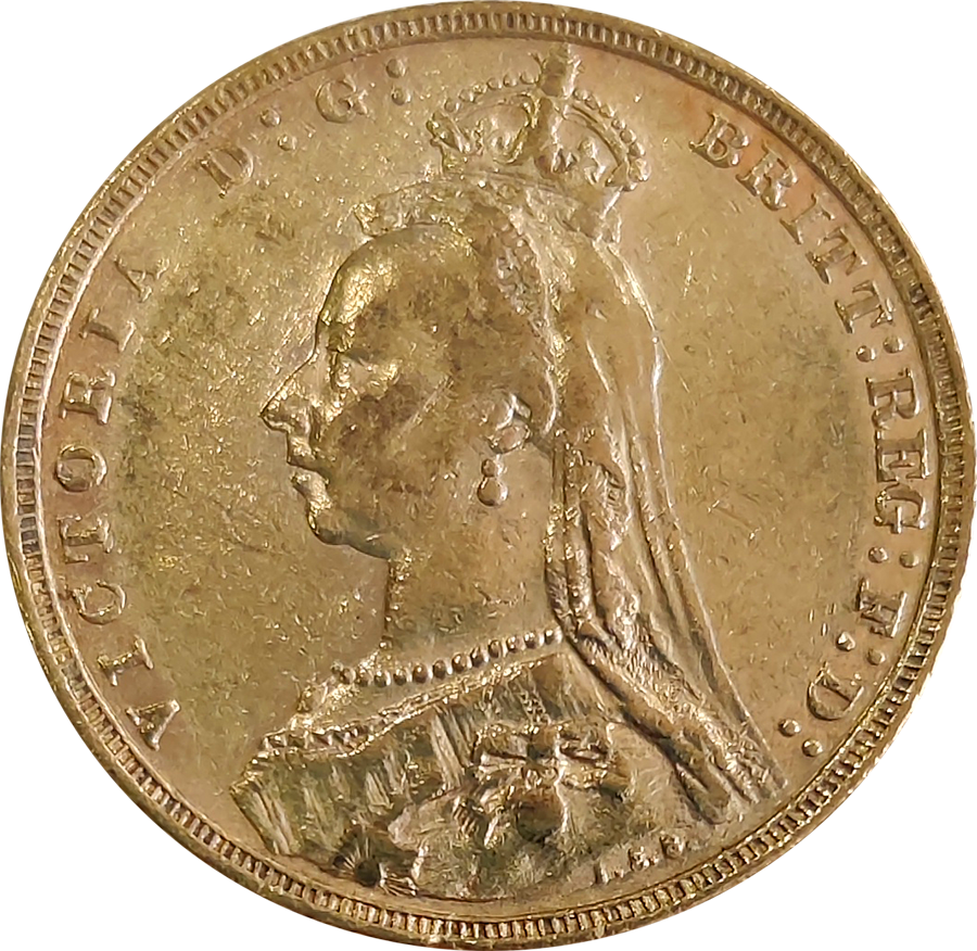 Pre-Owned 1893 Melbourne Mint Victoria 'Veiled Head' Full Sovereign Gold Coin
