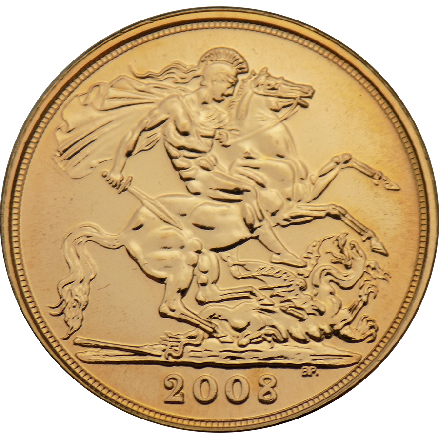 Pre-Owned 2008 UK Full Sovereign Gold Coin (Image 2)