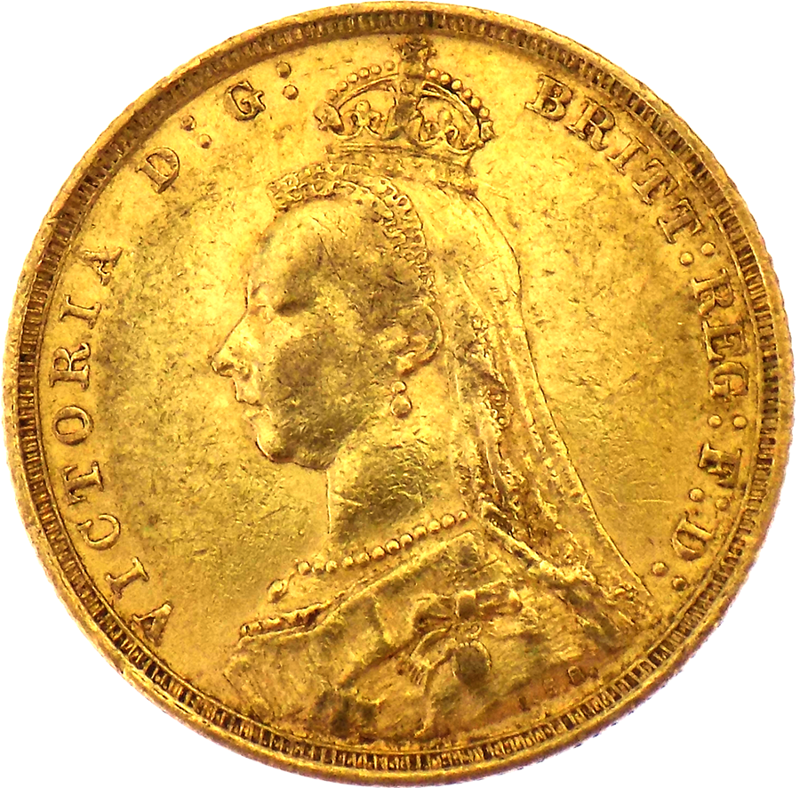 Pre-Owned 1892 Sydney Mint Victoria Jubilee Head Full Sovereign Gold Coin