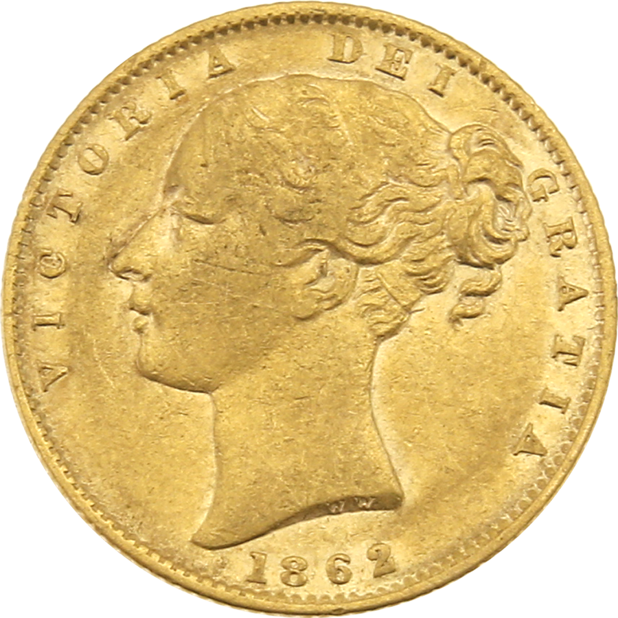 Pre-Owned 1862 London Mint Victorian 'Shield' Full Sovereign Gold Coin