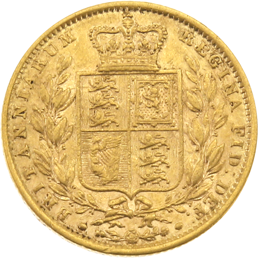 Pre-Owned 1862 London Mint Victorian 'Shield' Full Sovereign Gold Coin (Image 2)