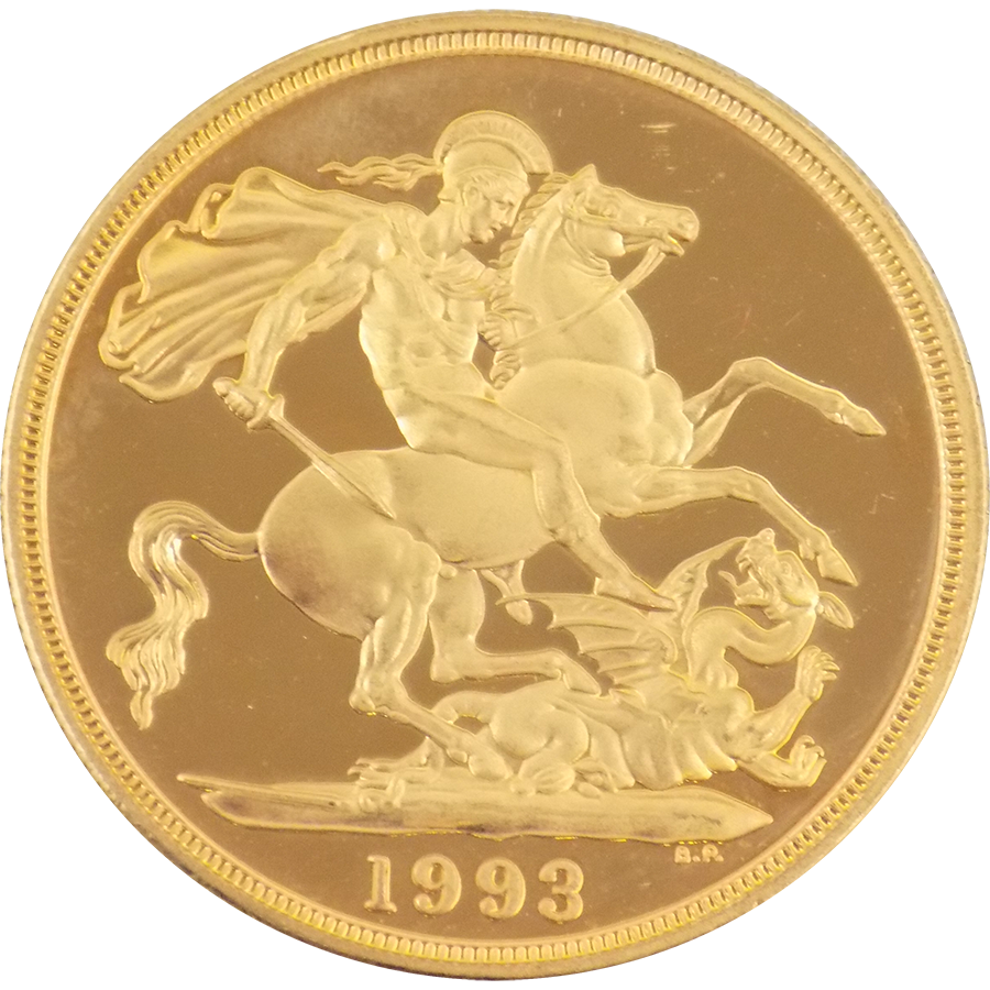 Pre Owned 1993 Uk Proof Design Double Sovereign Gold Coin