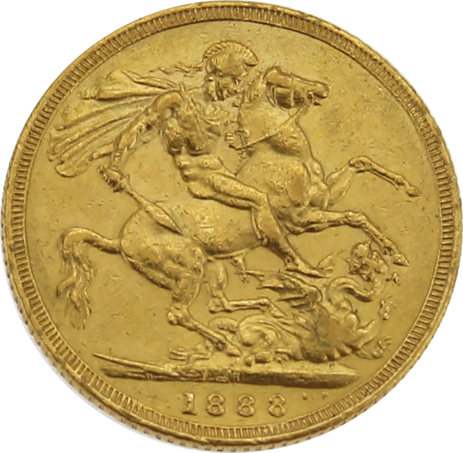 Pre-Owned 1888 Melbourne Mint Victoria Jubilee Head Full Sovereign Gold Coin