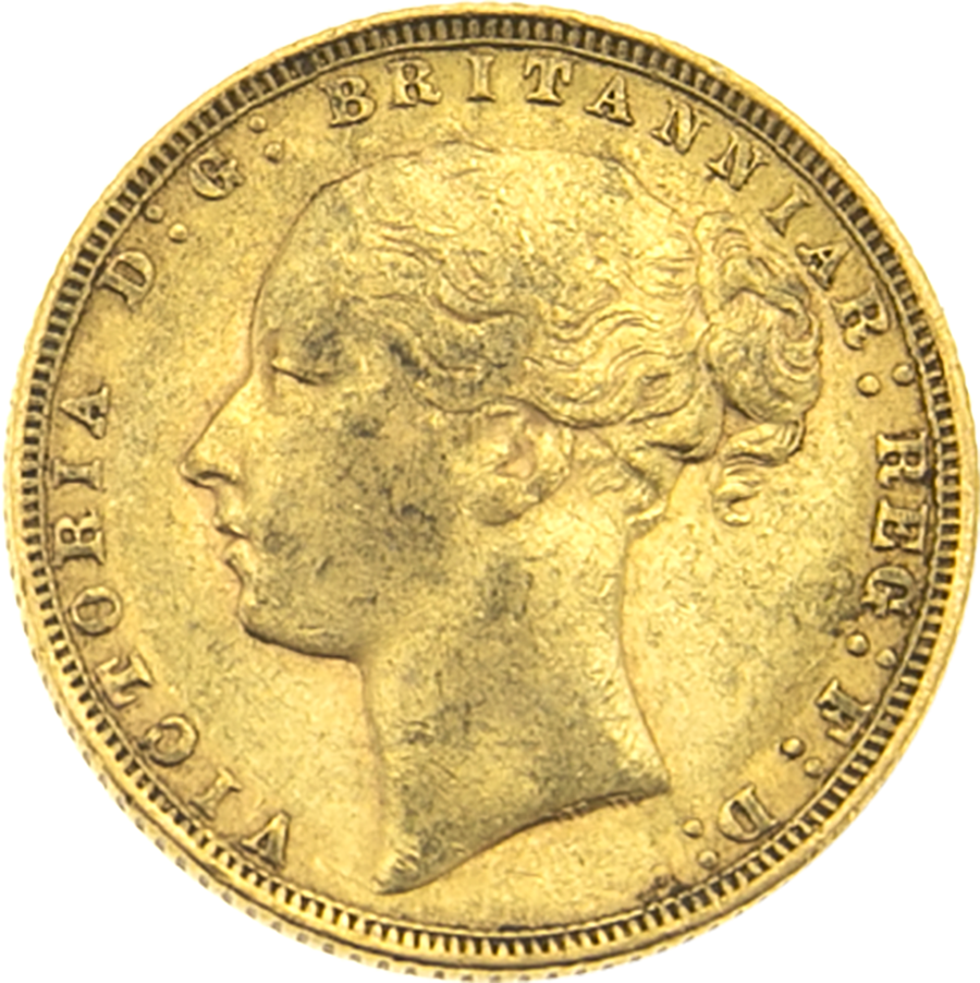 Pre-Owned 1872 London Mint Victoria Young Head Full Sovereign Gold Coin