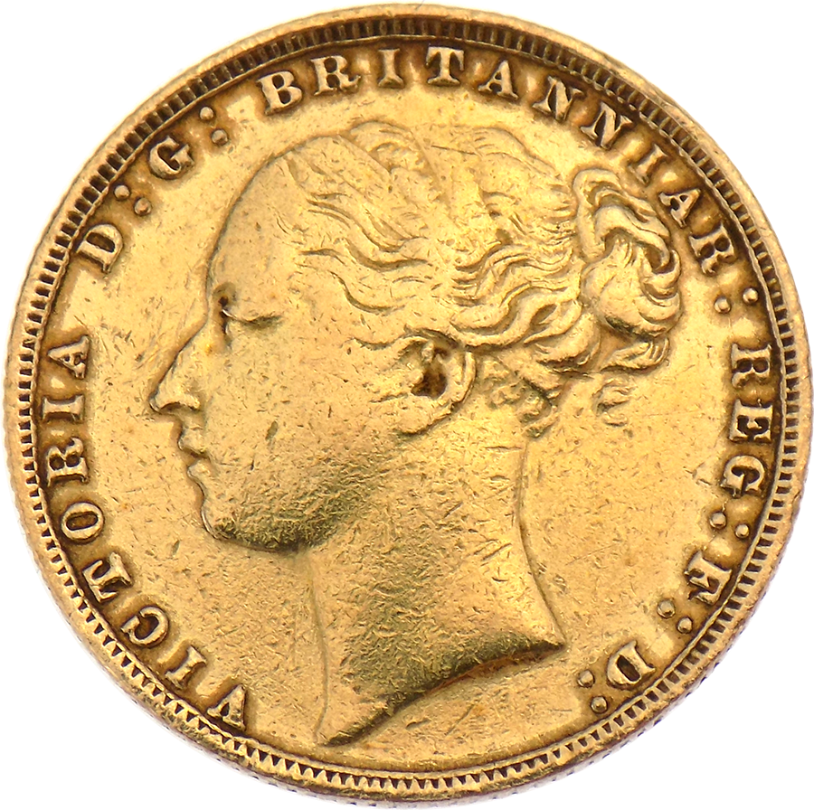 Pre-Owned 1878 London Mint Victoria Young Head Full Sovereign Gold Coin