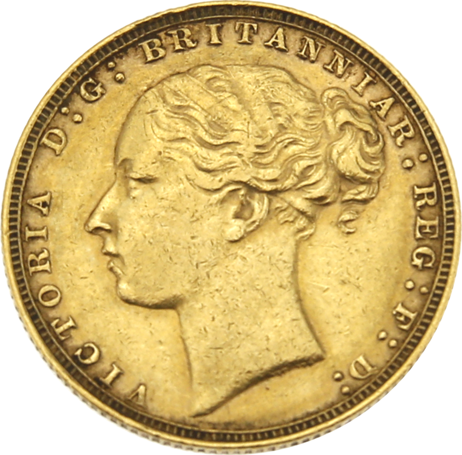 Pre-Owned 1880 London Mint Victoria Young Head Full Sovereign Gold Coin