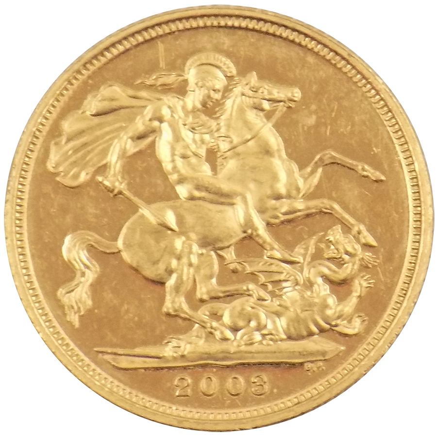 Pre-Owned 2003 UK Full Sovereign Gold Coin (Image 2)