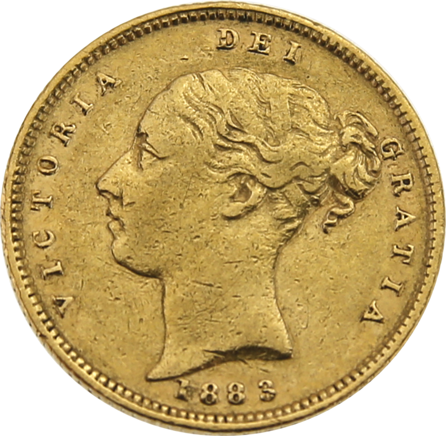 Pre-Owned 1883 London Mint Victorian 'Shield' Half Sovereign Gold Coin