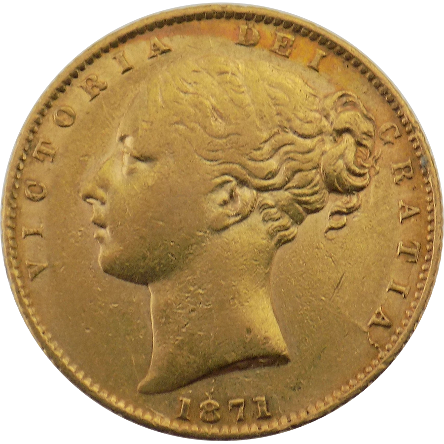 """Pre-Owned 1871 London Mint Victorian """"Shield"""" Full Sovereign Gold Coin"""