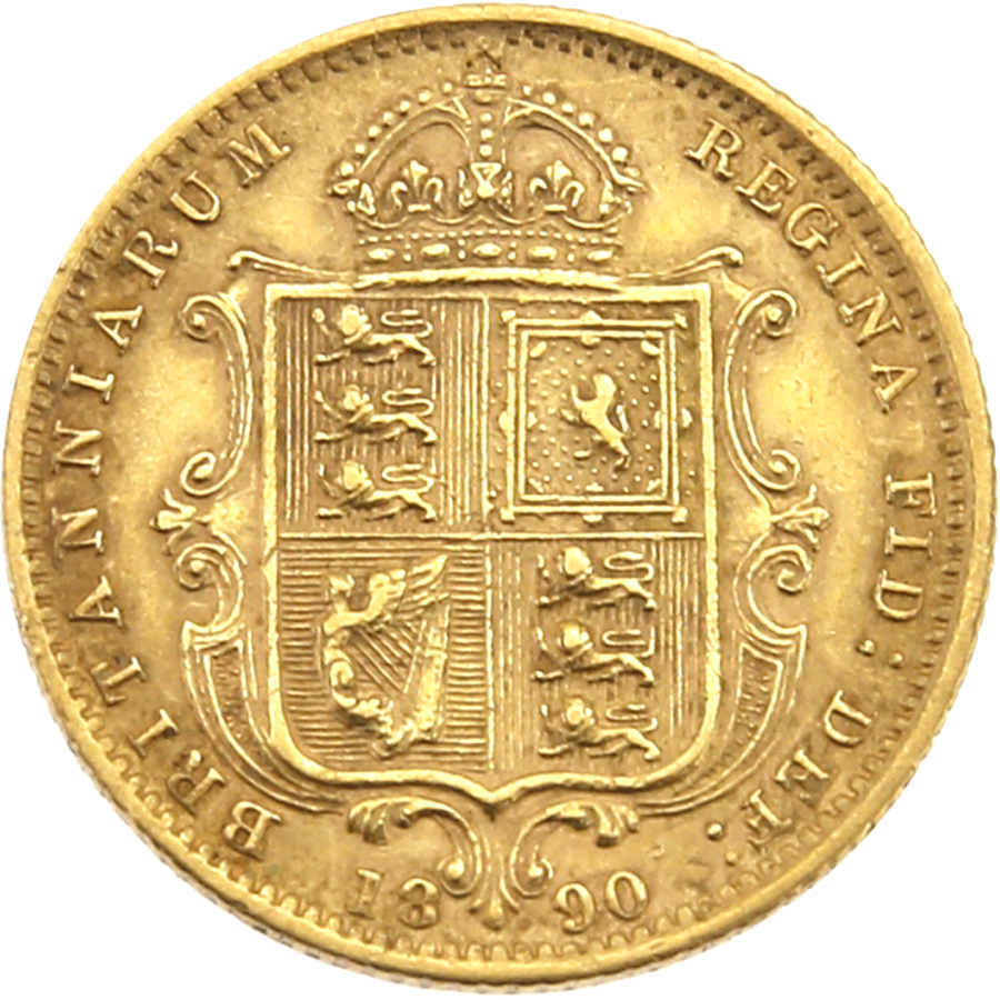 Pre-Owned 1890 UK Victorian 'Shield' Half Sovereign Gold Coin (Image 2)
