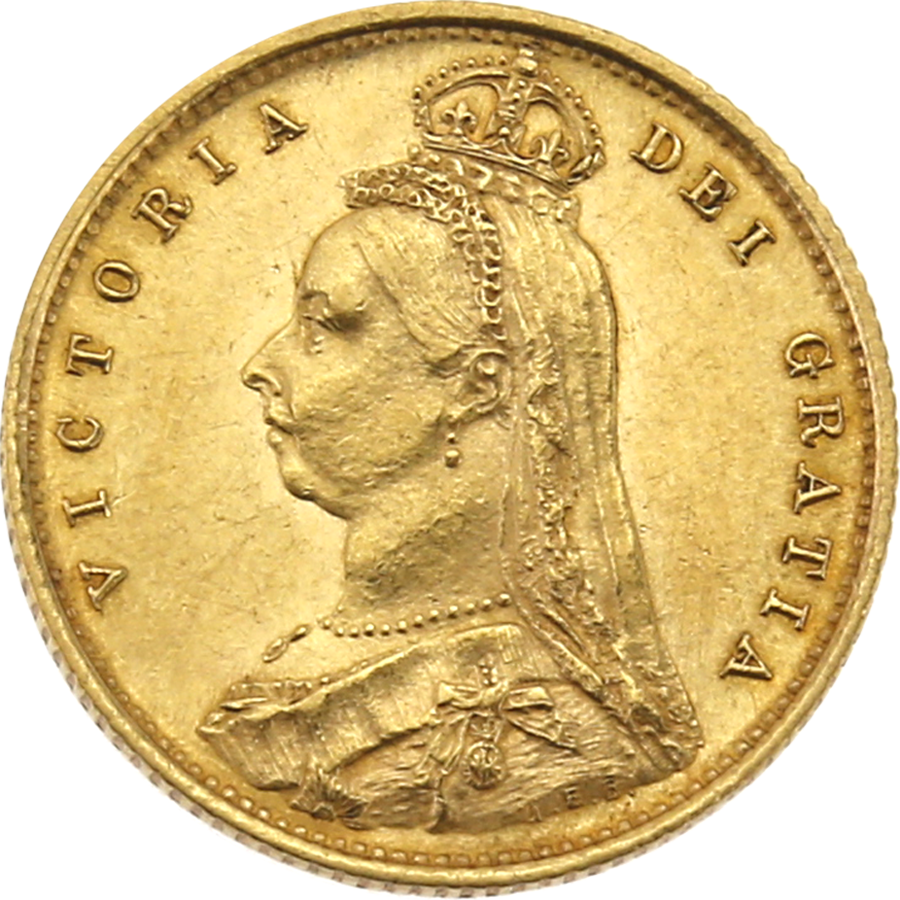 Pre-Owned 1887 London Mint Victorian 'Shield' Half Sovereign Gold Coin