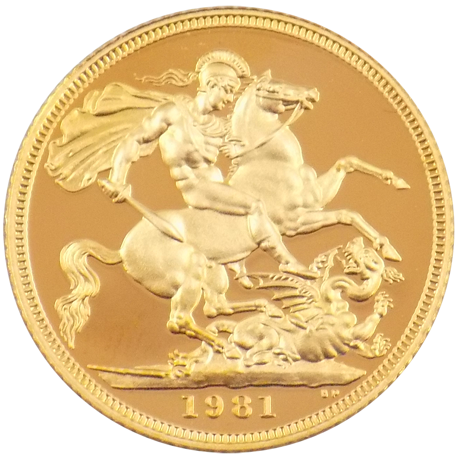 Pre-Owned 1981 UK Full Sovereign Proof Design Gold Coin (Image 2)
