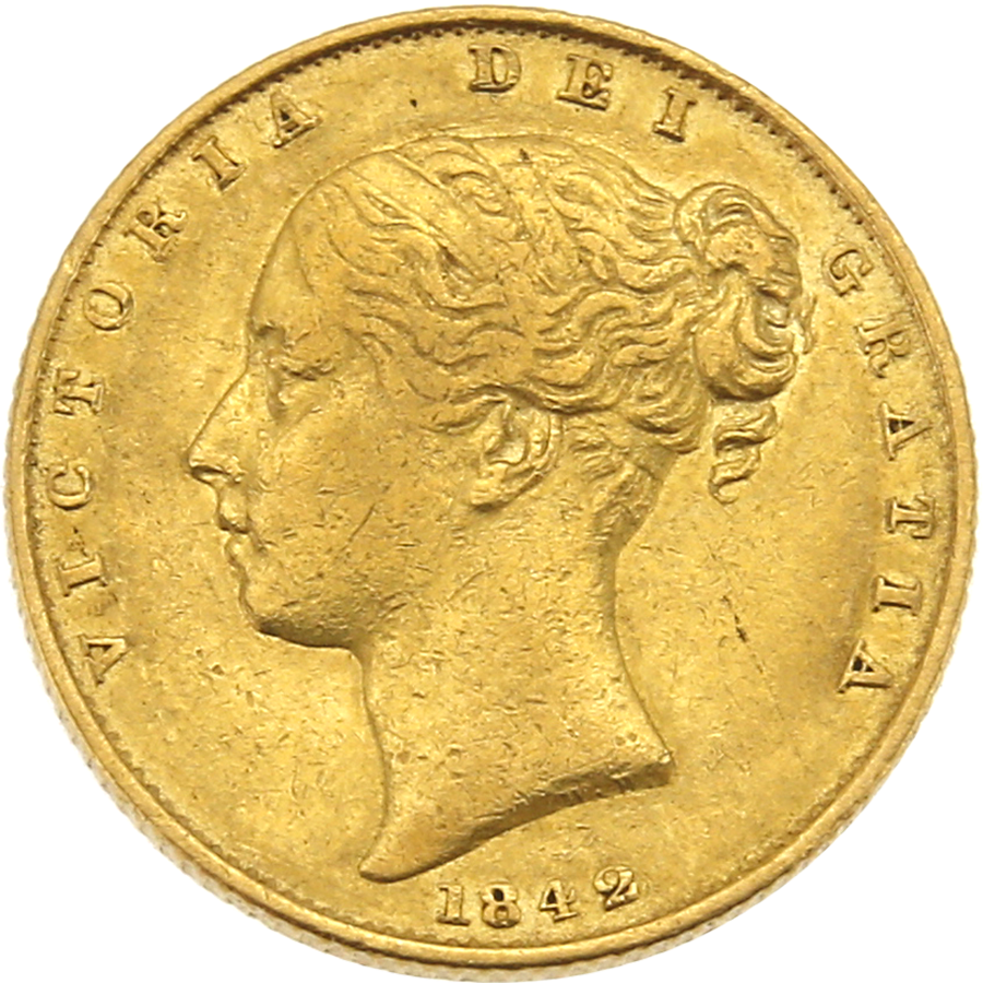 Pre-Owned 1842 London Mint Victoria Young Head 'Shield' Full Sovereign Gold Coin