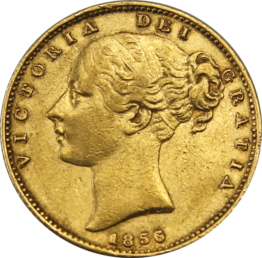 Pre-Owned 1856 London Mint Victoria Shield Full Sovereign Gold Coin