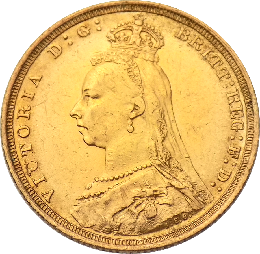 Pre-Owned 1889 Sydney Mint Victoria Jubilee Head Full Sovereign Gold Coin