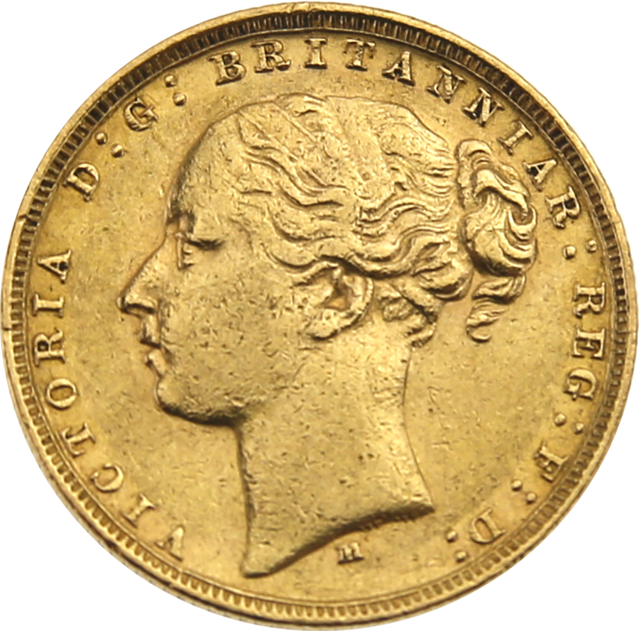 Pre-Owned 1879 Melbourne Mint Victoria Young Head Full Sovereign Gold Coin