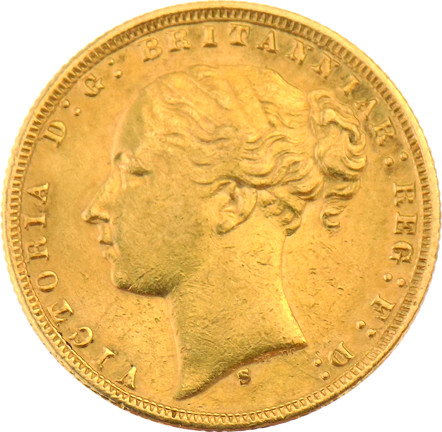 Pre-Owned 1876 Sydney Mint Victoria Young Head Full Sovereign Gold Coin