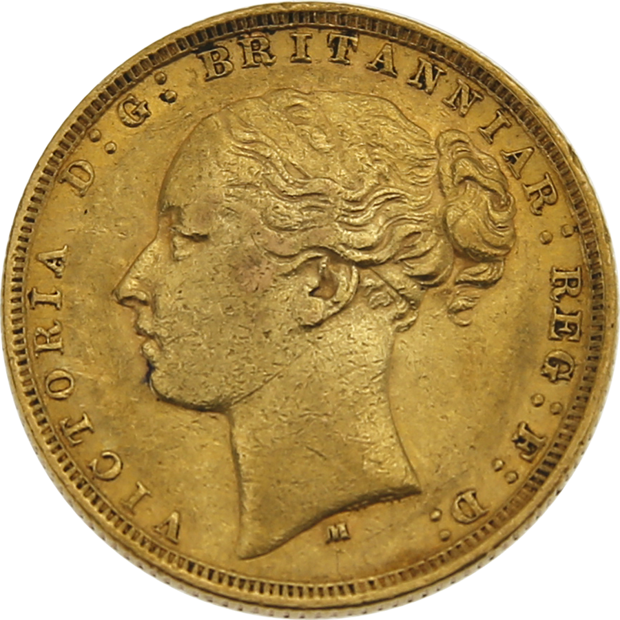 Pre-Owned 1880 Melbourne Mint Victoria Young Head Full Sovereign Gold Coin