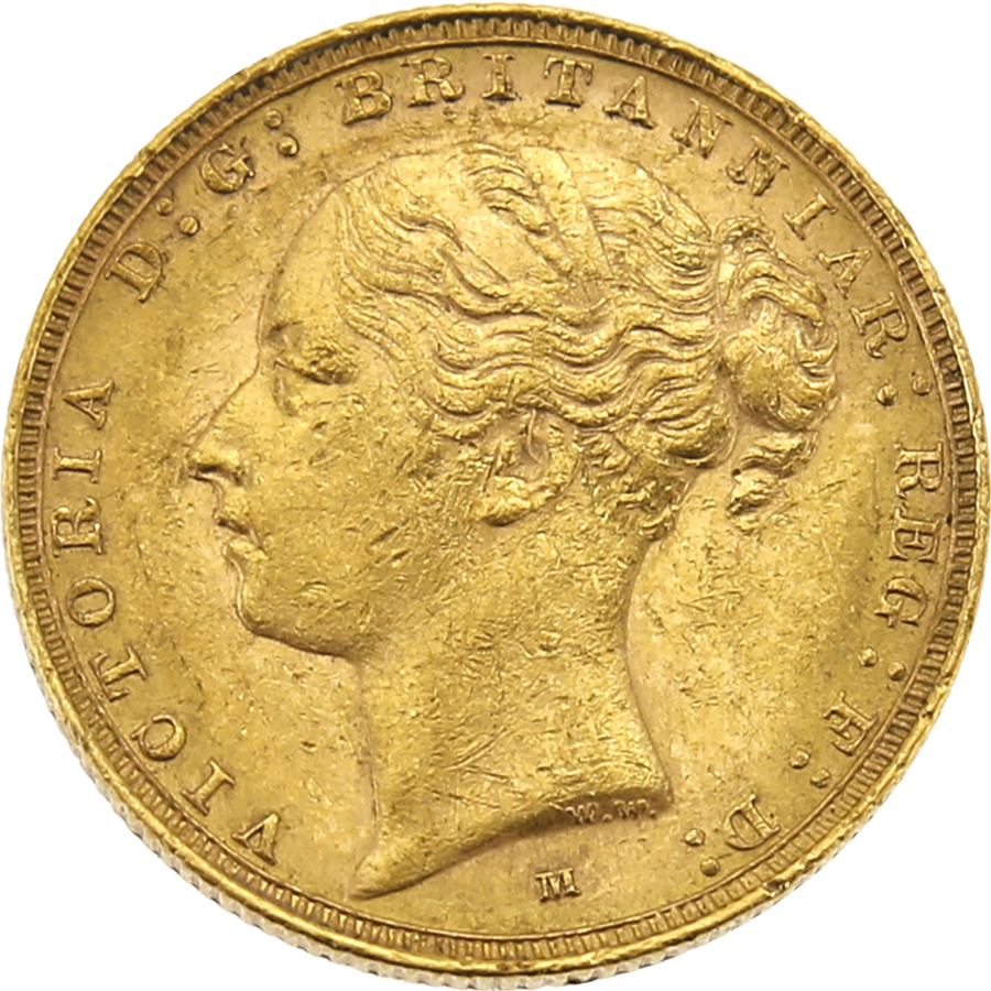 Pre-Owned 1885 Melbourne Mint Victoria Young Head Full Sovereign Gold Coin
