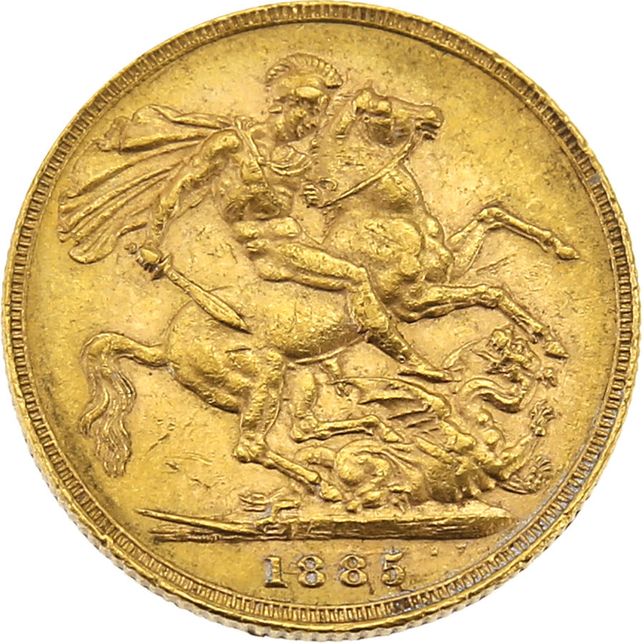 Pre-Owned 1885 Melbourne Mint Victoria Young Head Full Sovereign Gold Coin (Image 2)