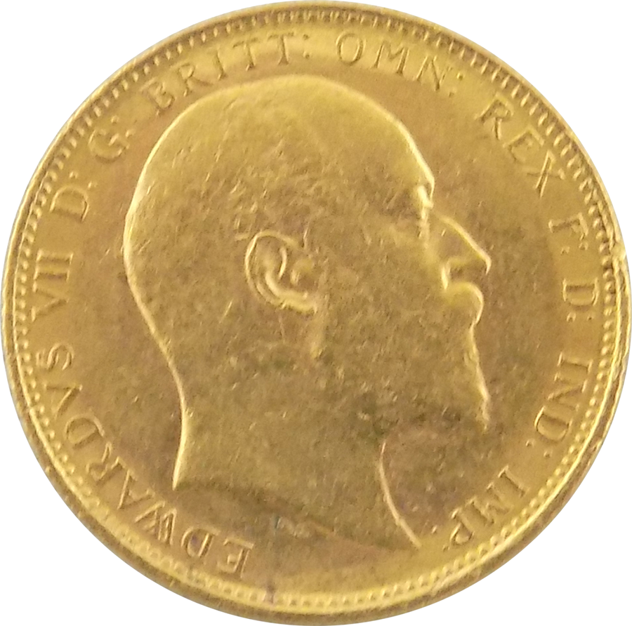 Pre-Owned 1905 Melbourne Mint Edward VII Full Sovereign Gold Coin (Image 1)