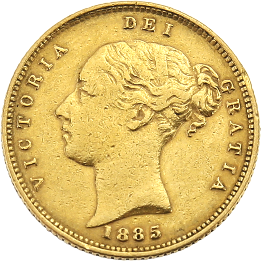 Pre-Owned 1885 UK Victorian Shield Half Sovereign Gold Coin