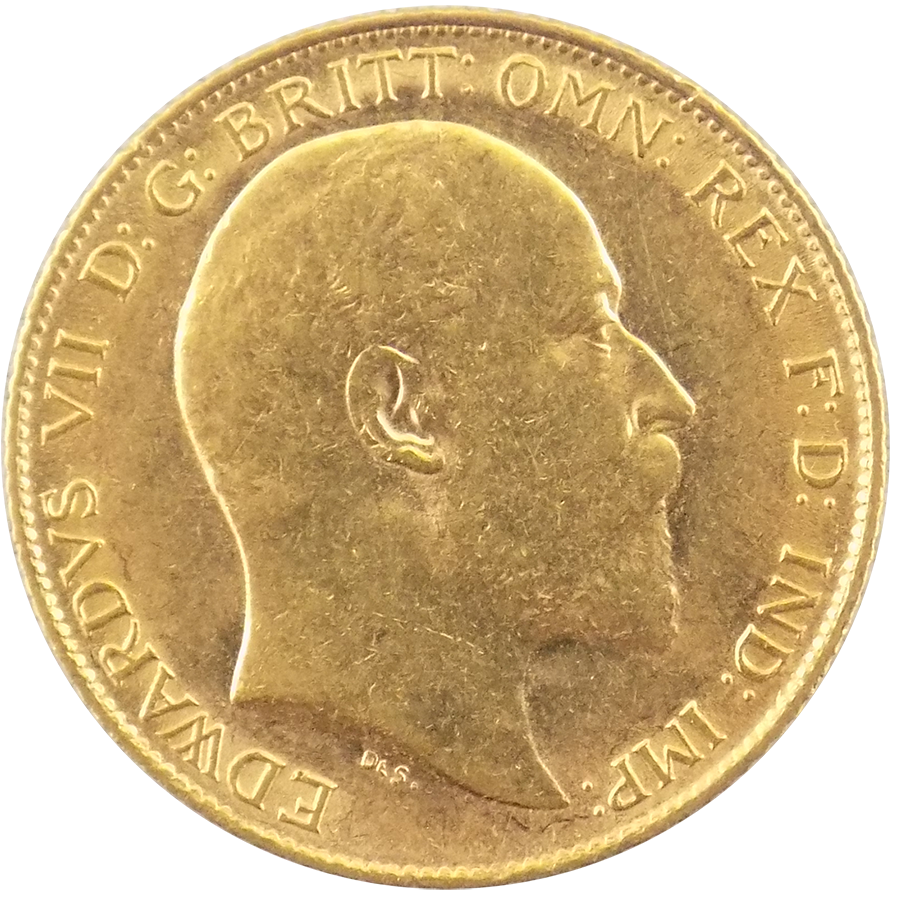 Pre-Owned 1909 UK Edward VII Half Sovereign Gold Coin
