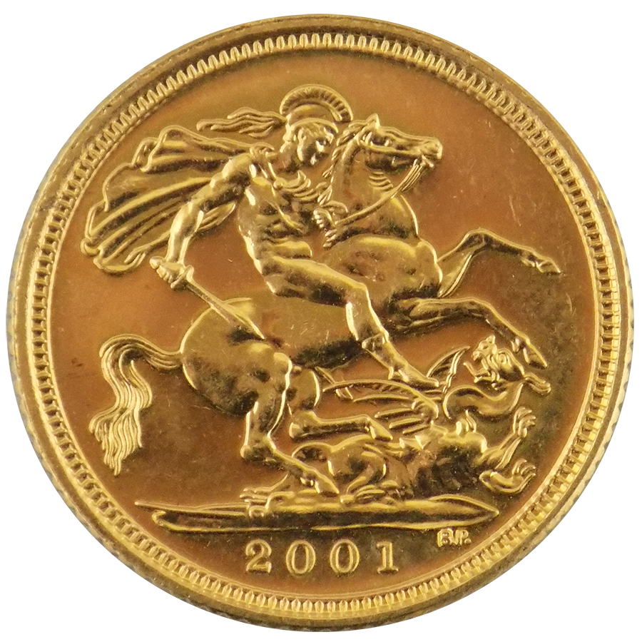 Pre-Owned 2001 UK QEII Half Sovereign Gold Coin (Image 2)