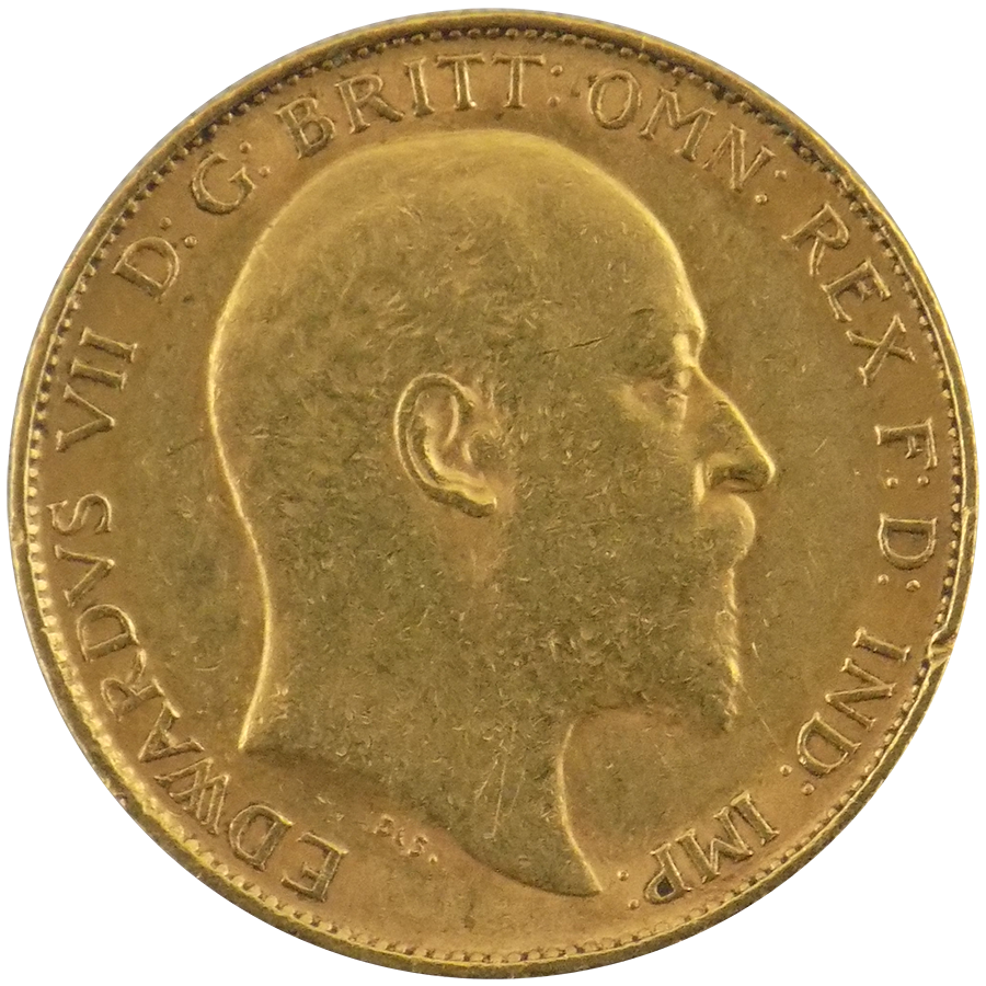 Pre-Owned 1902 UK Edward VII Half Sovereign Gold Coin (Image 1)
