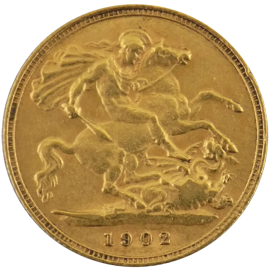 Pre-Owned 1902 UK Edward VII Half Sovereign Gold Coin (Image 2)