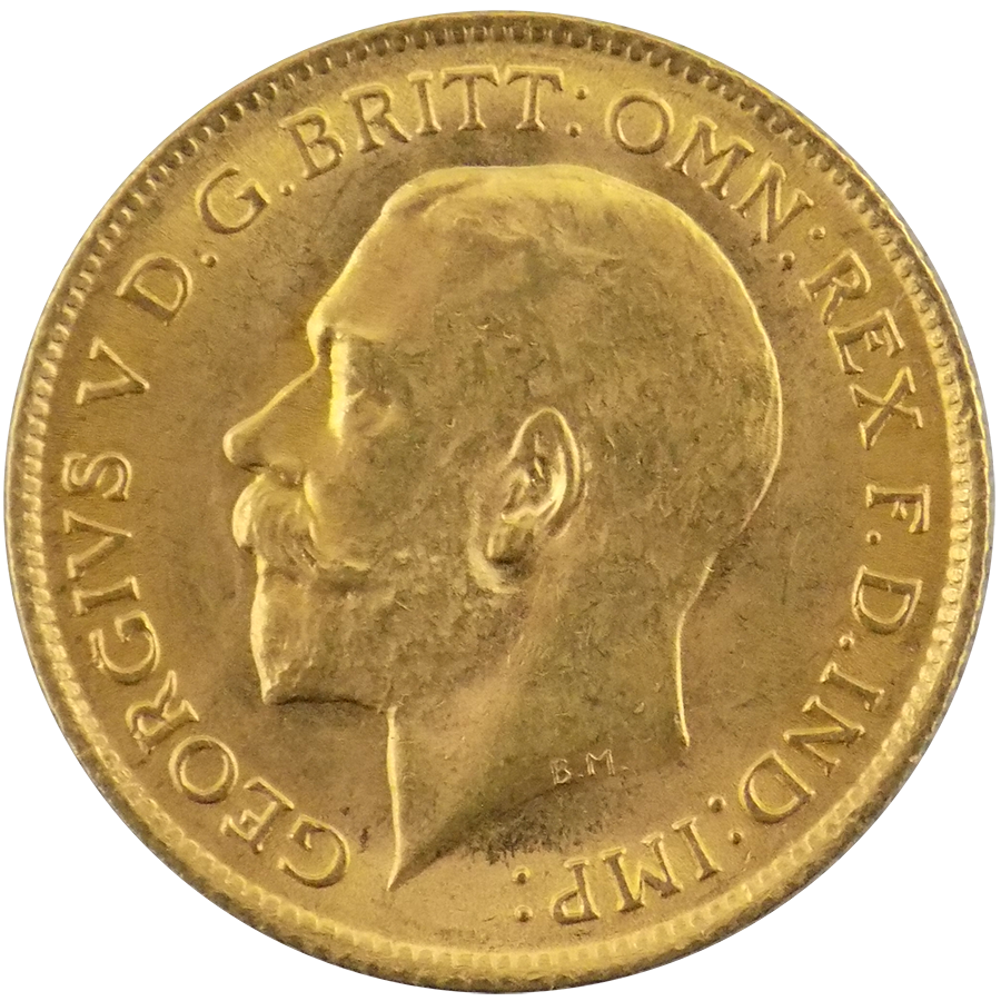 Pre-Owned 1913 UK George V Half Sovereign Gold Coin (Image 1)
