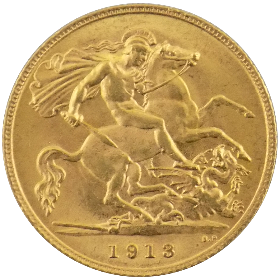 Pre-Owned 1913 UK George V Half Sovereign Gold Coin (Image 2)