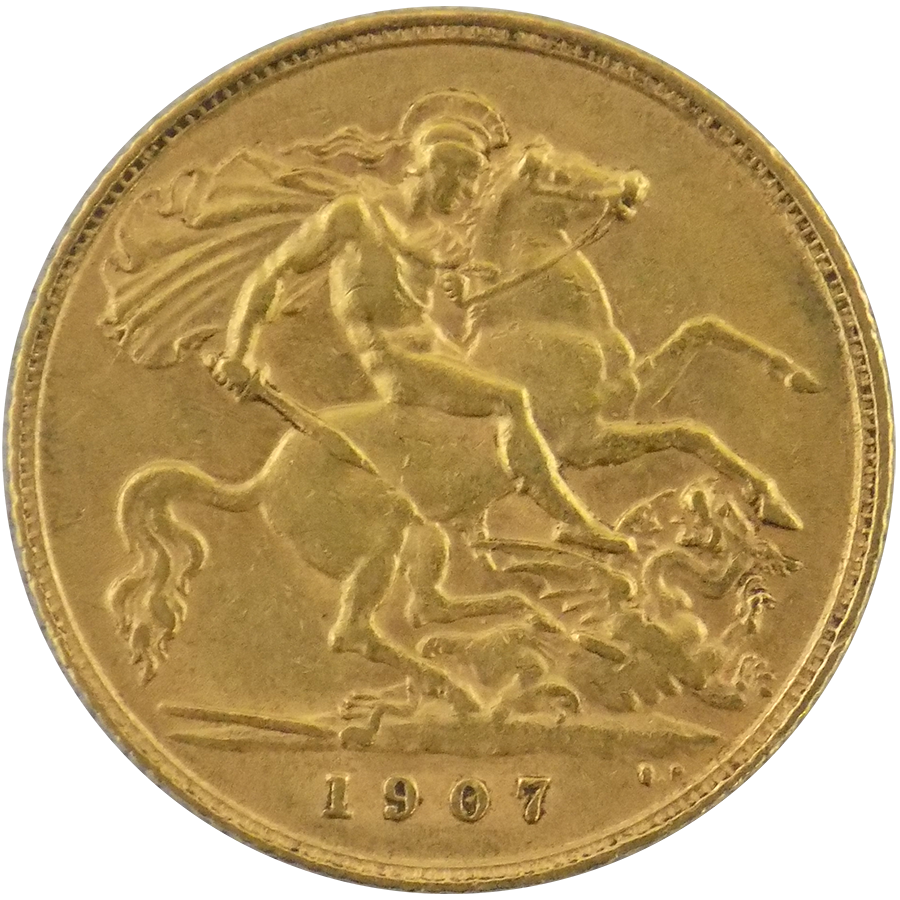 Pre Owned 1907 Uk Edward Vii Half Sovereign Gold Coin