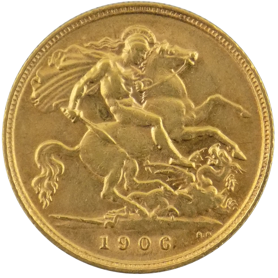Pre-Owned 1906 UK Edward VII Half Sovereign Gold Coin (Image 2)