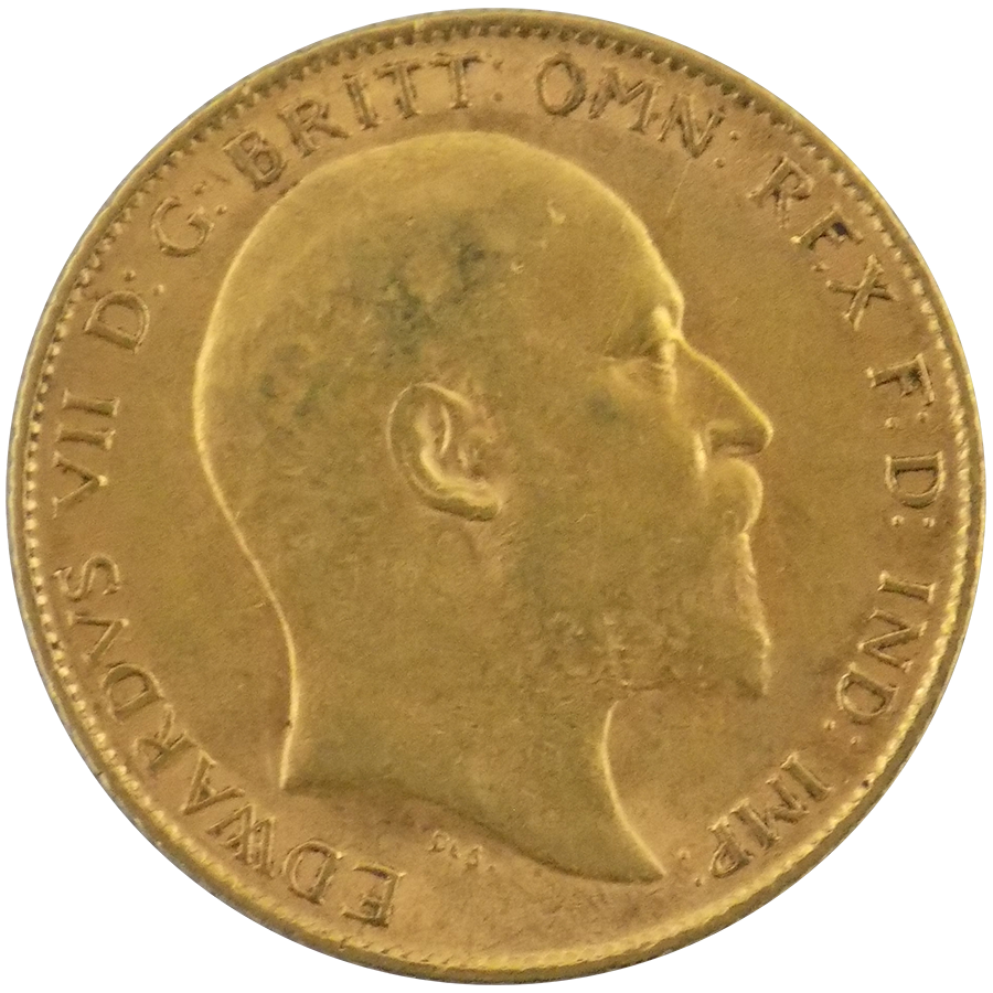 Pre-Owned 1910 UK Edward VII Half Sovereign Gold Coin