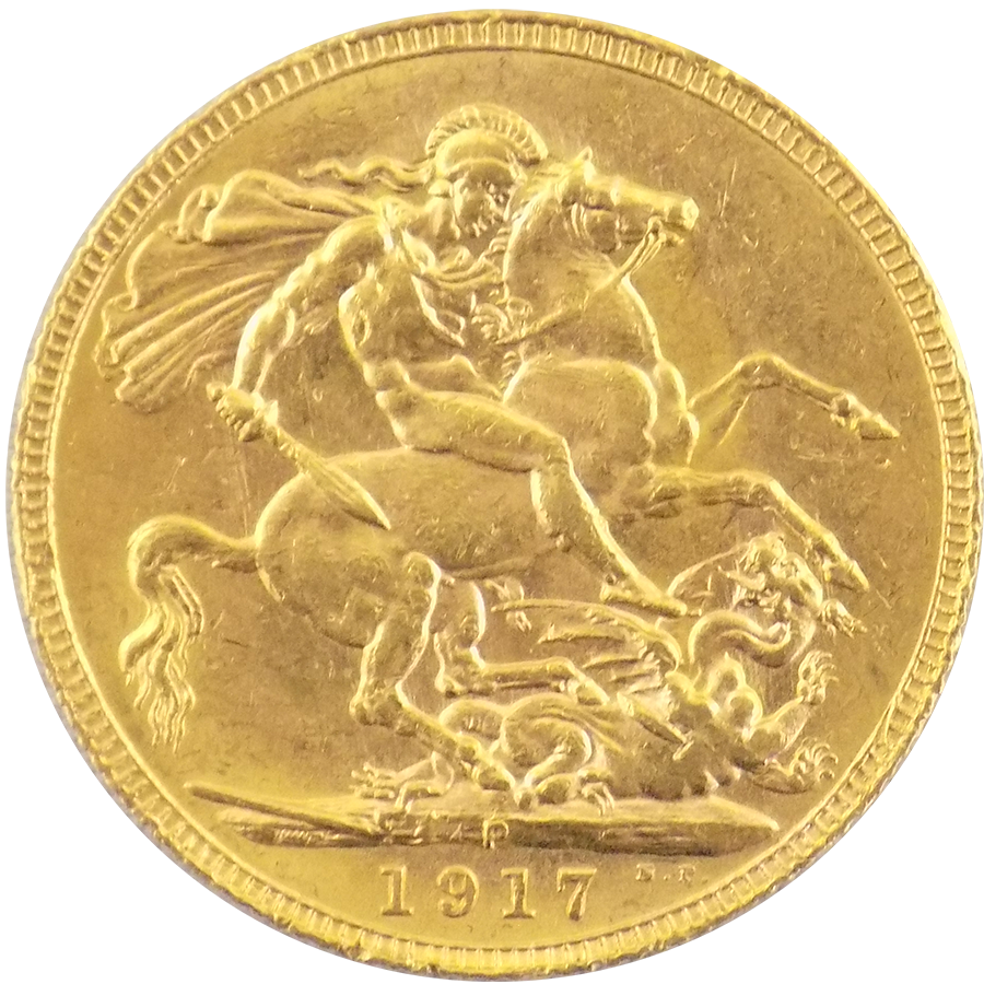 Pre Owned 1917 Perth Mint Full Gold Sovereign Atkinsons