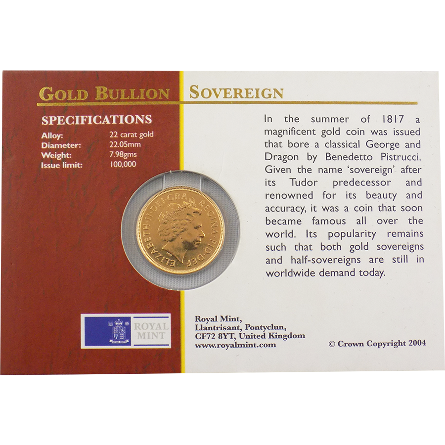 Pre-Owned 2004 UK Carded Full Sovereign Gold Coin (Image 2)