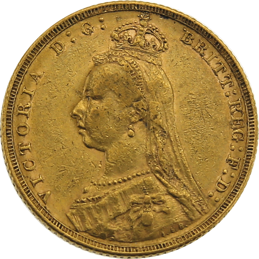 Pre-Owned 1890 Melbourne Mint Victoria Jubilee Head Full Sovereign Gold Coin