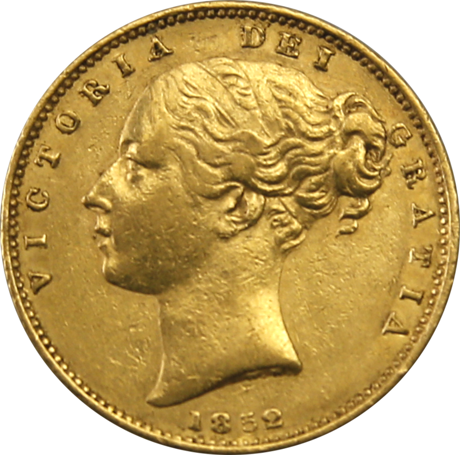 Pre-Owned 1852 London Mint Victorian 'Shield' Full Sovereign Gold Coin
