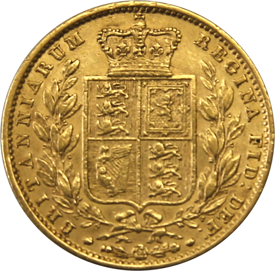 Pre-Owned 1852 London Mint Victorian 'Shield' Full Sovereign Gold Coin (Image 2)