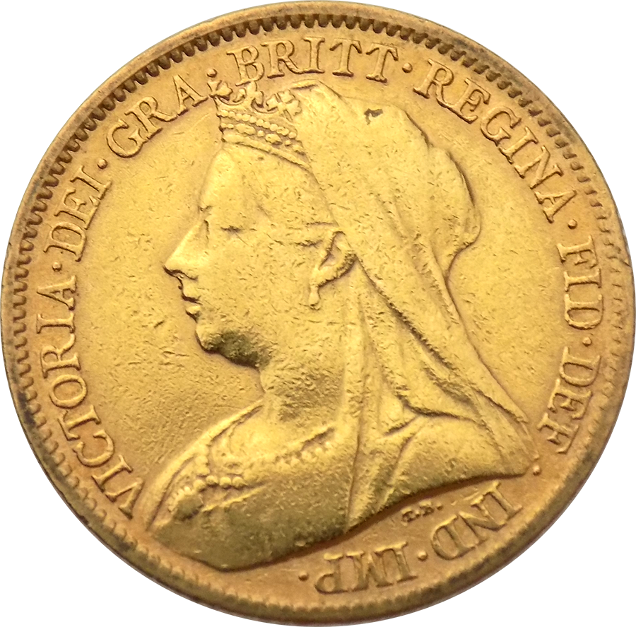 Pre-Owned 1899 UK Victoria Half Sovereign Gold Coin