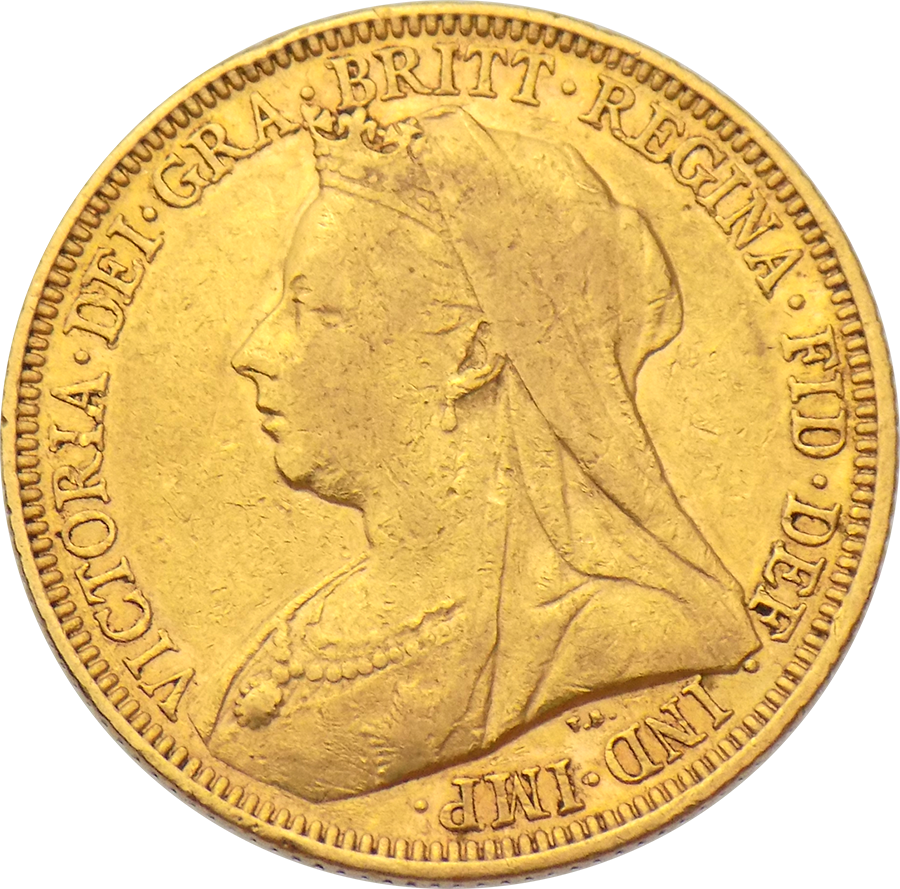 Pre-Owned 1896 Sydney Mint Victoria 'Veiled Head' Full Sovereign Gold Coin