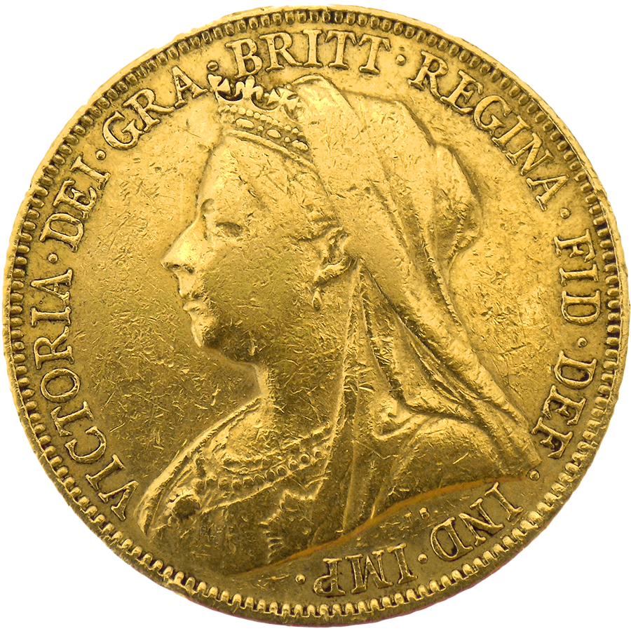 Pre-Owned 1897 Sydney Mint Victoria 'Veiled Head' Full Sovereign Gold Coin