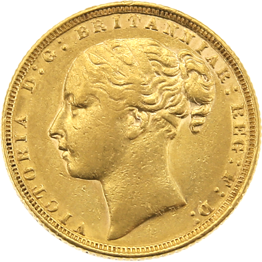 Pre-Owned 1871 London Mint Victoria Young Head Full Sovereign Gold Coin