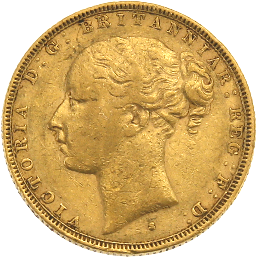 Pre-Owned 1880 Sydney Mint Victoria Young Head Full Sovereign Gold Coin