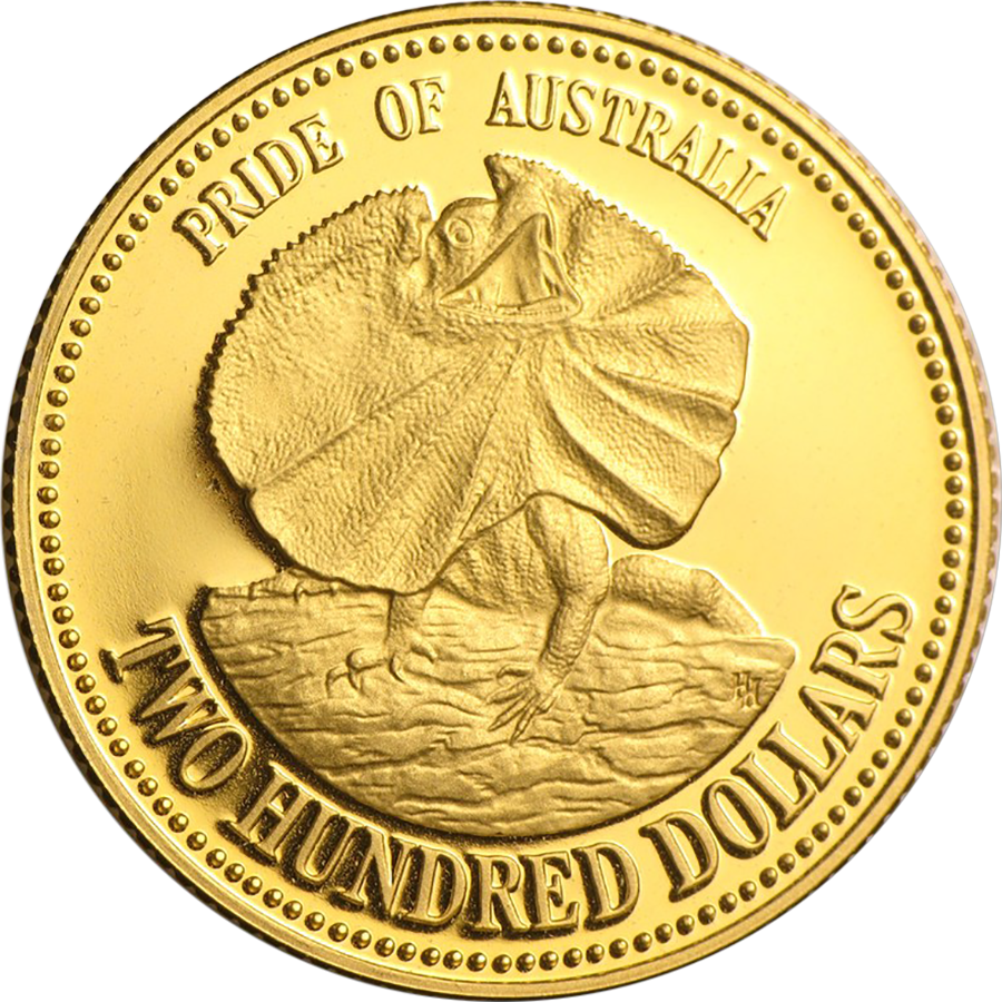 Pre Owned 1989 Pride Of Australia Lizard 200 Gold Proof
